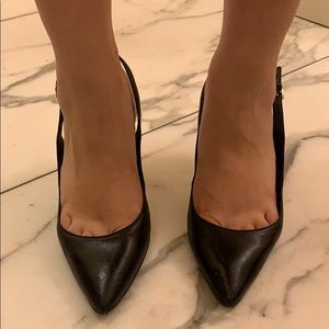 Vince camuto black leather pointy heels